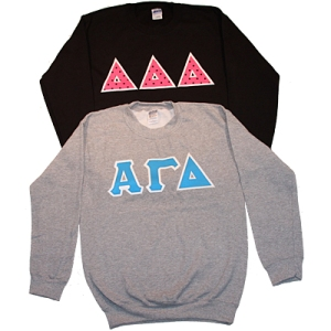 Heavyweight Crewneck Sweatshirt Sewn on Greek Letters | Greek Spirit