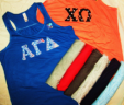 Bella Racerback Tank Top with 3″ Sew on Greek Letters